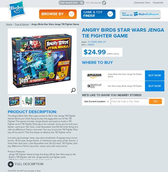 ANGRY BIRDS STAR WARS JENGA TIE FIGHTER GAME 1