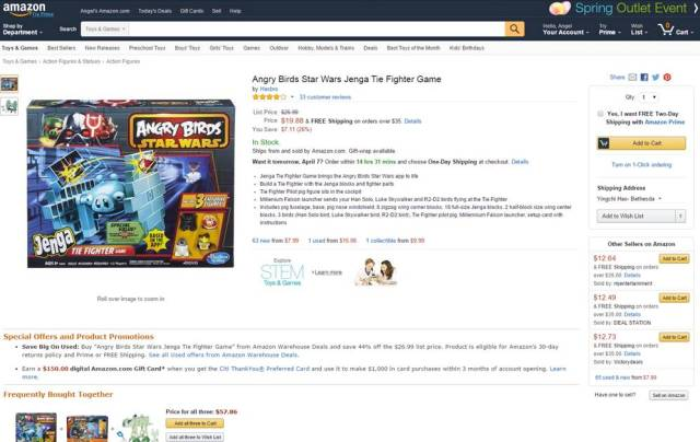 ANGRY BIRDS STAR WARS JENGA TIE FIGHTER GAME 2